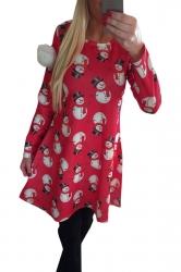 Womens Crewneck Snowman Printed Ugly Christmas Midi Dress Red