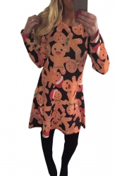 Womens Ginger Bread Printed Ugly Christmas Midi Dress Orange