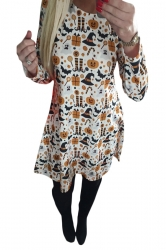 Womens Pumpkin Printed Halloween Midi Dress White