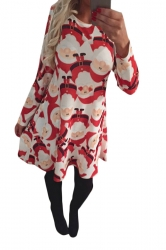 Womens Santa Claus Printed Ugly Christmas Midi Dress Red