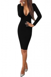 Womens Sexy Plunging Neckline Long Sleeve Bodycon Dress Black