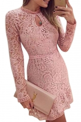 Womens Sexy Lace Hollow Out Cocktail Dress Pink