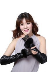 Womens Elegant Lace Mitten Over Elbow Gloves Black