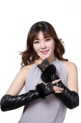 Womens Elegant Lace Mitten Over Elbow Gloves Black