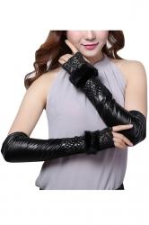 Womens Elegant Buckled Mitten Over Elbow Gloves Black
