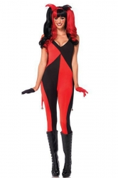 Womens Color Block Harley Quinn Halloween Jumpsuit Costume Red