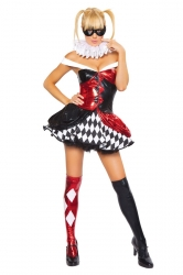 Womens Sexy Color Block Harley Quinn Halloween Costume Red