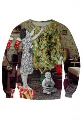 Womens Crewneck Ugly Christmas Tree Printed Sweatshirt Khaki