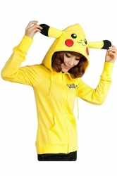 Womens Cute Pikachu Printed Zipper Front Long Sleeve Hoodie Yellow