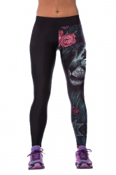Womens Tight Floral Lion Printed Sport Leggings Black