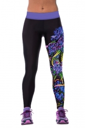 Womens Tight Flower Printed Sport Leggings Black