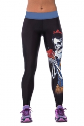 Womens Tight Skeleton Printed Sport Leggings Black