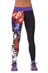Womens Tight Crazy Beauty Printed Sport Leggings Black