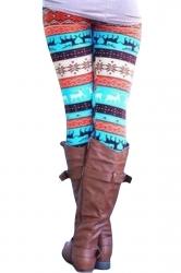 Womens High Waisted Christmas Reindeer Printed Leggings Turquoise