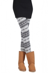 Womens Slimming Snowflake Patterned Christmas Leggings White