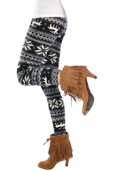 Womens Slimming Snowflake Patterned Christmas Leggings Black