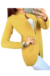 Womens Long Sleeve Cardigan Sweater Yellow