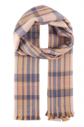 Womens Fashion Plaid Dual-Use Shawl and Scarf Beige