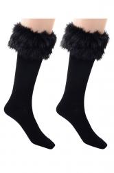 Womens Pretty Fuzzy Socks Black