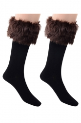 Womens Pretty Fuzzy Socks Coffee