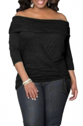 Womens Sexy Off Shoulder Long Sleeve Draped Top Black