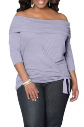 Womens Sexy Off Shoulder Long Sleeve Draped Top Purple