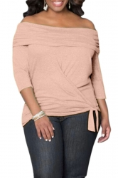 Womens Sexy Off Shoulder Long Sleeve Draped Top Pink