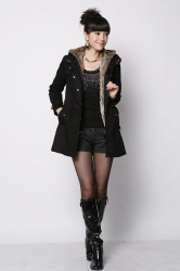 Womens Thick Warm Detachable Faux Fur Lining Hooded Overcoat Black