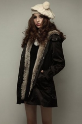 Womens Thick Sash Detachable Faux Fur Lining Hooded Overcoat Black