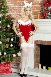 Womens Sexy Bunny Christmas Lingerie Red