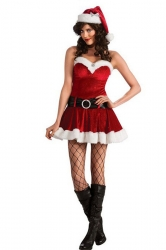 Womens Sexy Off Shoulder Christmas Santa Costume Red