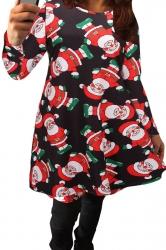 Womens Sexy Santa Claus Printed Long Sleeved Christmas Dress Black