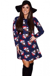 Womens Christmas Penguin Printed Long Sleeve Midi Dress Navy Blue