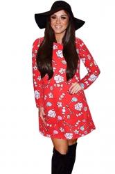 Womens Crewneck Candy Printed Ugly Christmas Midi Dress Red