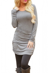 Womens Sexy Plain Long Sleeve Round Neck Asymmetric Dress Gray