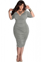 Womens Plain Sexy Deep V-Neck 1/2 Sleeve Draped Bodycon Dress Gray