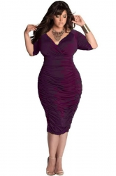 Womens Plain Sexy Deep V-Neck 1/2 Sleeve Draped Bodycon Dress Purple