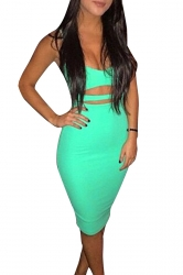Womens Sexy Sleeveless Bodycon Knee Length Clubwear Dress Green