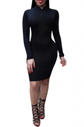 Womens Sexy Mock Neck Backless Bodycon Knee Length Dress Black