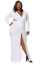 Womens Sexy Cut Out V Neck Floor-length Side Split Long Dress White