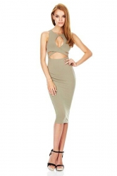 Womens Crew Neck Hollow Out Bandage Sleeveless Sexy Dress Green