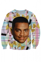 Womens Carlton Banks Fresh Prince of Bel Air 3D Print Sweatshirt Blue