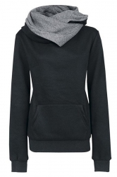 Womens Funnel Neck Color Block Kangaroo Pocket Pullover Hoodie Black