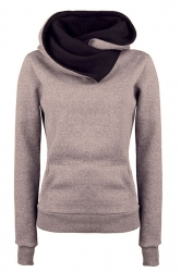 Womens Funnel Neck Color Block Kangaroo Pocket Pullover Hoodie Khaki