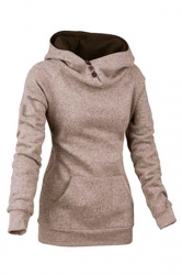 Womens Plain High Collar Button Kangaroo Pocket Pullover Hoodie Khaki