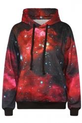Womens Long Sleeve Galaxy 3D Digital Print Pullover Hoodie Red