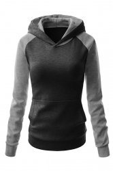 Womens Chic Color Block Raglan Long Sleeve Pullover Hoodie Dark Gray