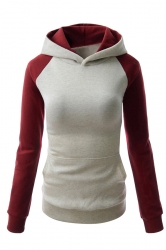 Womens Stylish Color Block Raglan Long Sleeve Pullover Hoodie Ivory