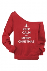 Womens Boat Neck Long Sleeve Christmas Letter Printed Sweatshirt Red