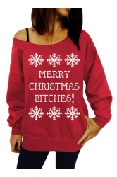 Womens Snowflake Printed Pullover Ugly Christmas Sweatshirt Red